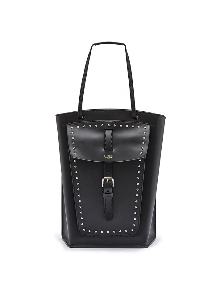 The black with studded french calf Arizona bucket bag by Bertoni 1949