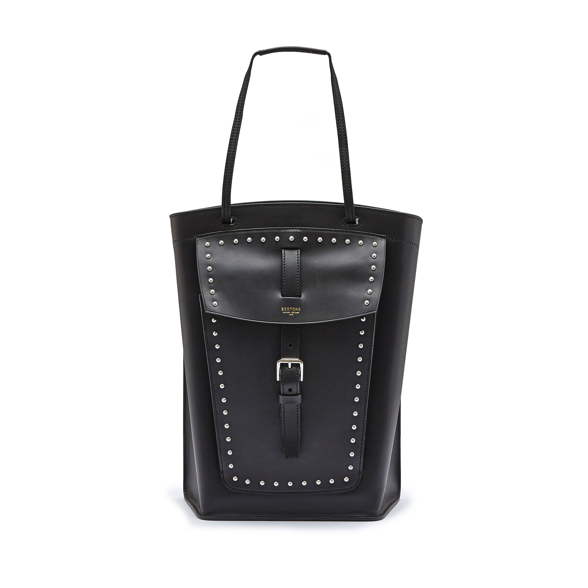 The black with studded french calf Arizona bucket bag by Bertoni 1949 01