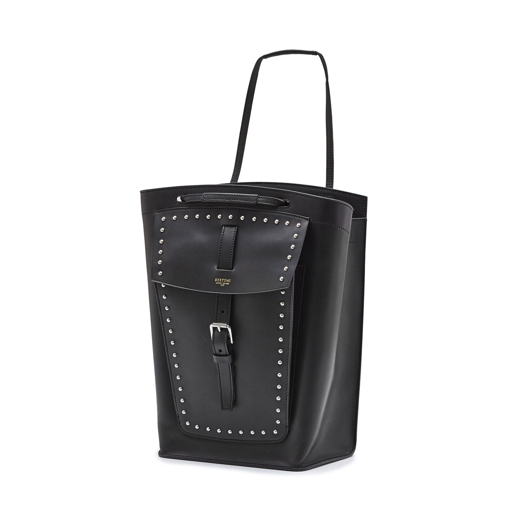 The black with studded french calf Arizona bucket bag by Bertoni 1949 02