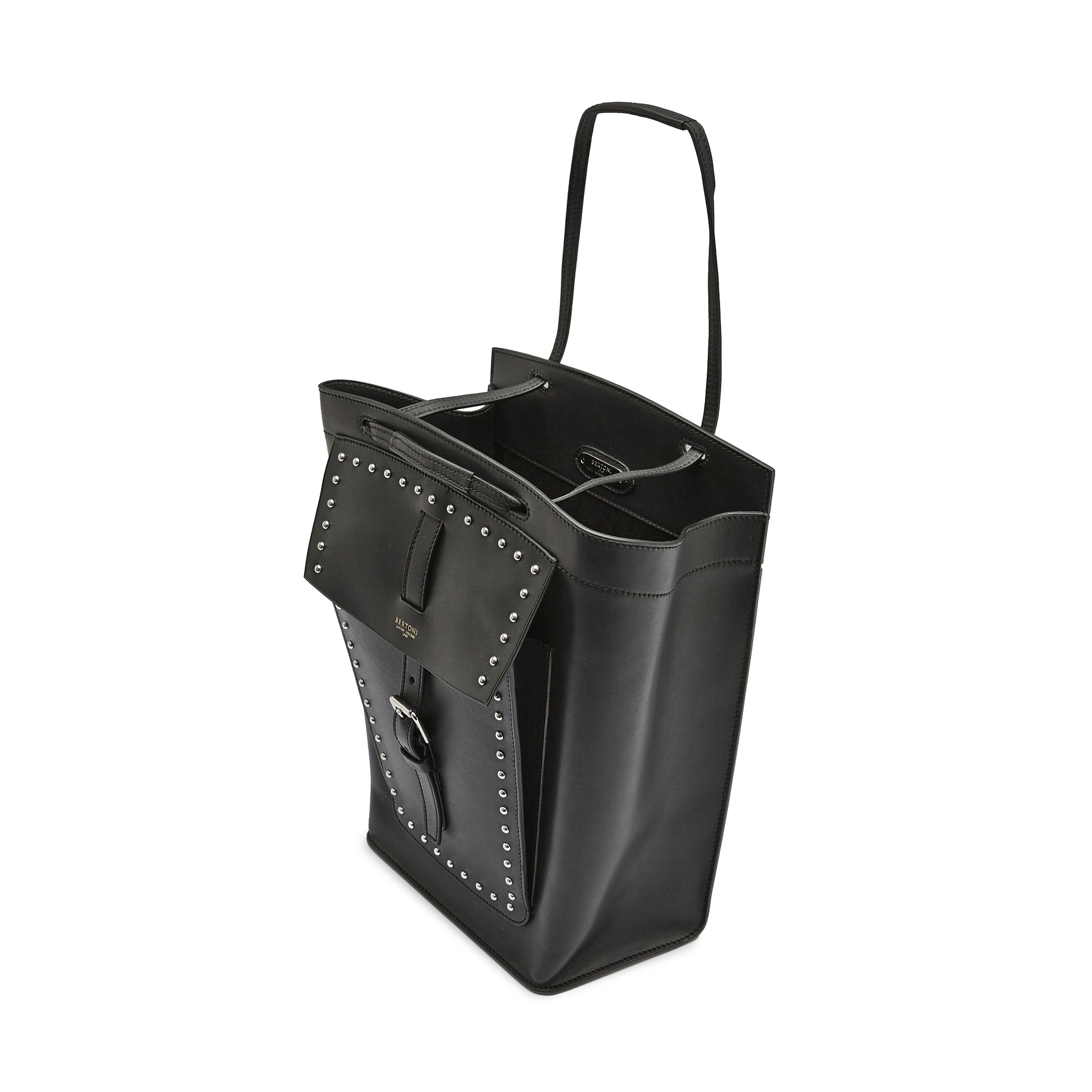 The black with studded french calf Arizona bucket bag by Bertoni 1949 03
