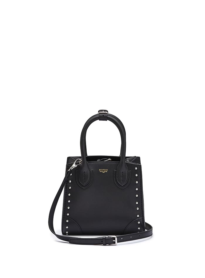 The black studded french calf Darcy small bag by Bertoni 1949