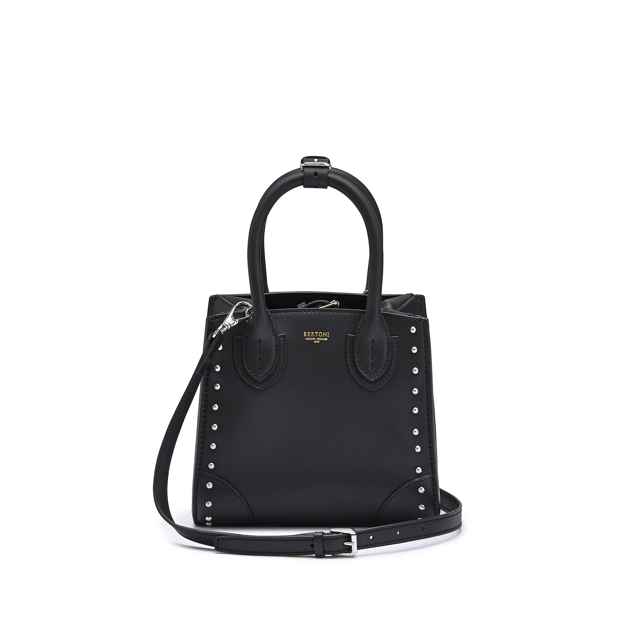 The black studded french calf Darcy small bag by Bertoni 1949 01