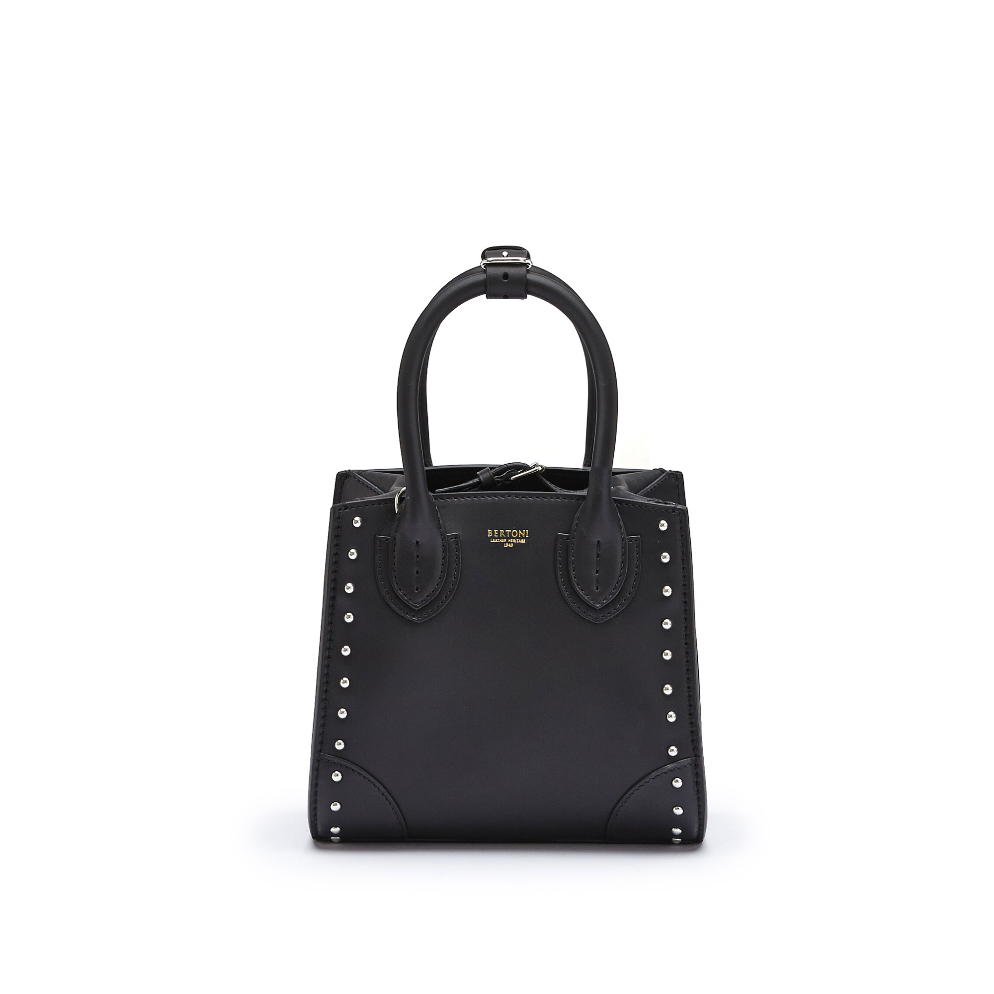 The black studded french calf Darcy small bag by Bertoni 1949 02