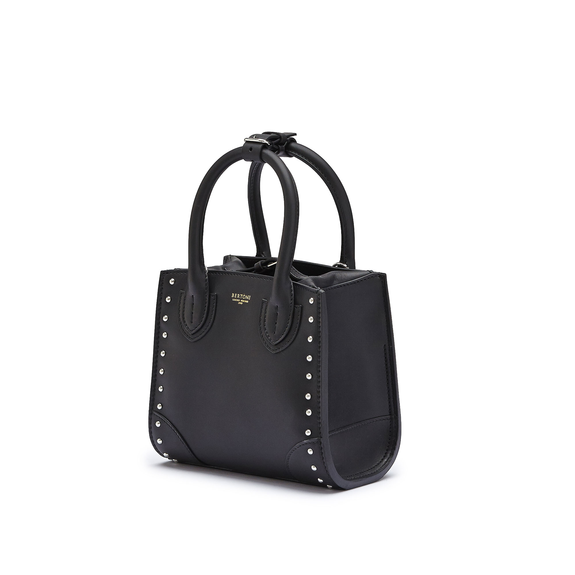 The black studded french calf Darcy small bag by Bertoni 1949 03