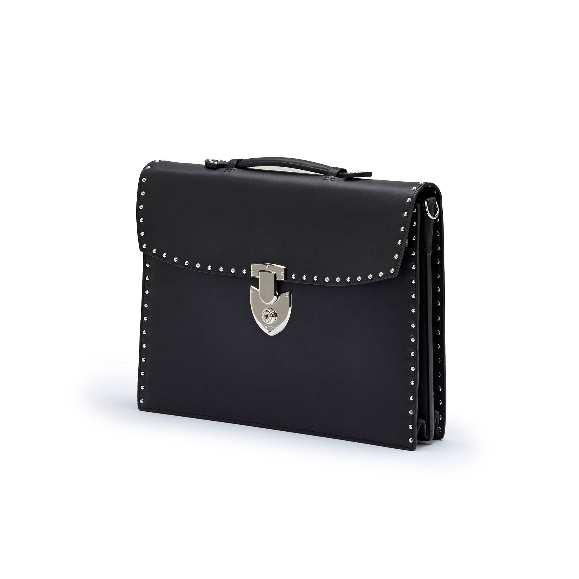 The black with studded french calf Double Gusset Briefcase by Bertoni 1949 02