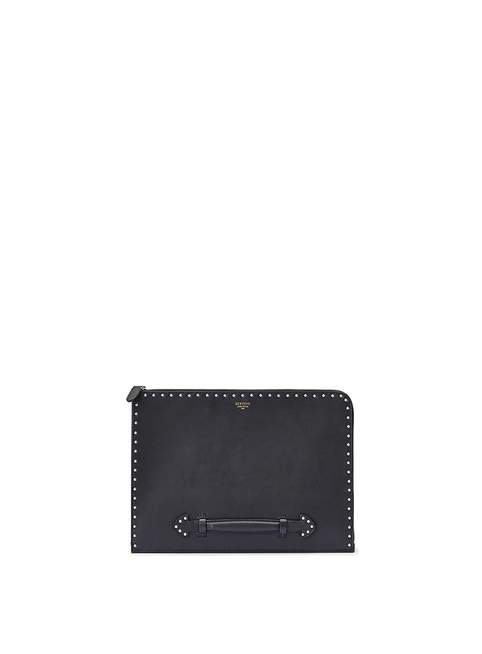 The black with studded french calf Handle Zip Folio by Bertoni 1949