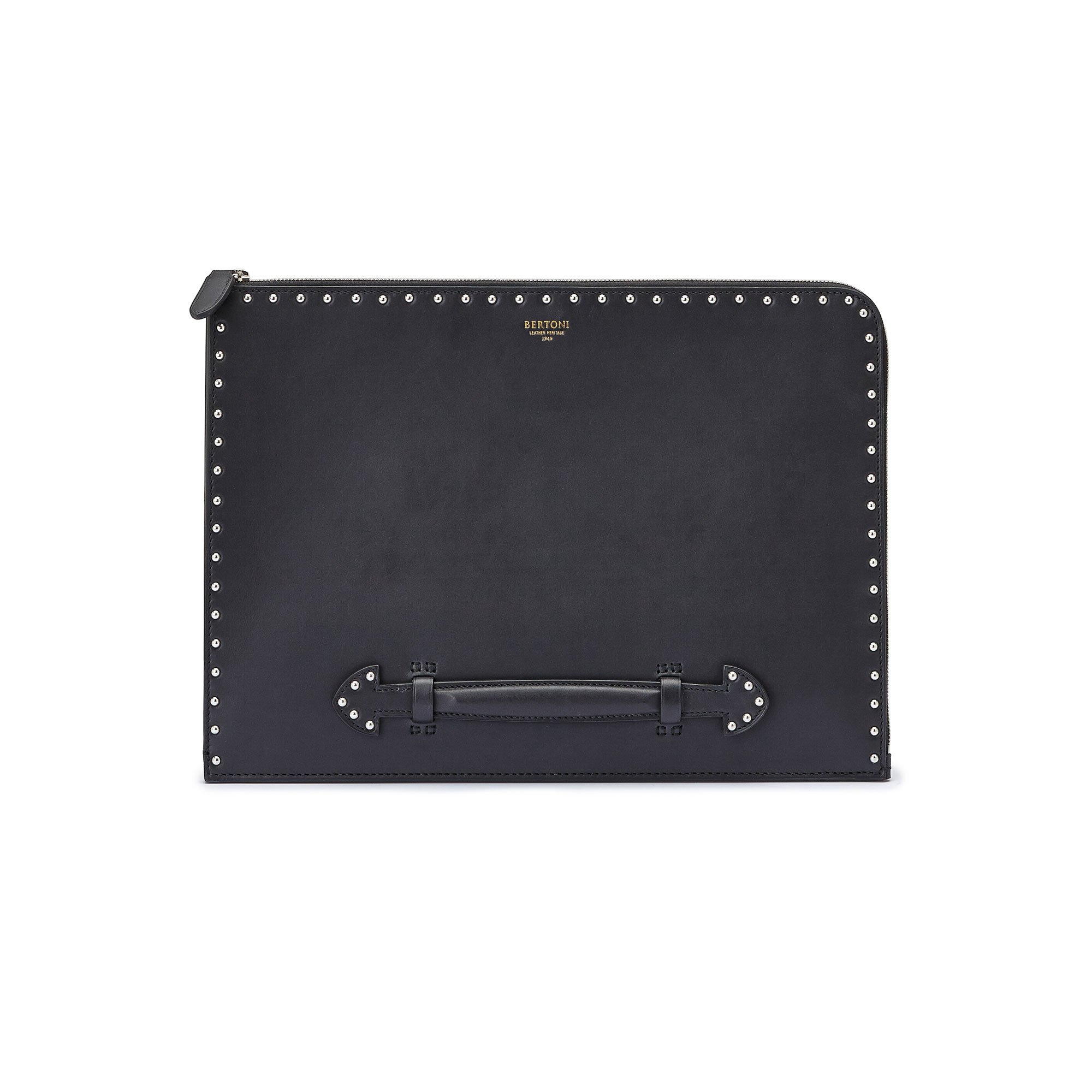 The black with studded french calf Handle Zip Folio by Bertoni 1949 01