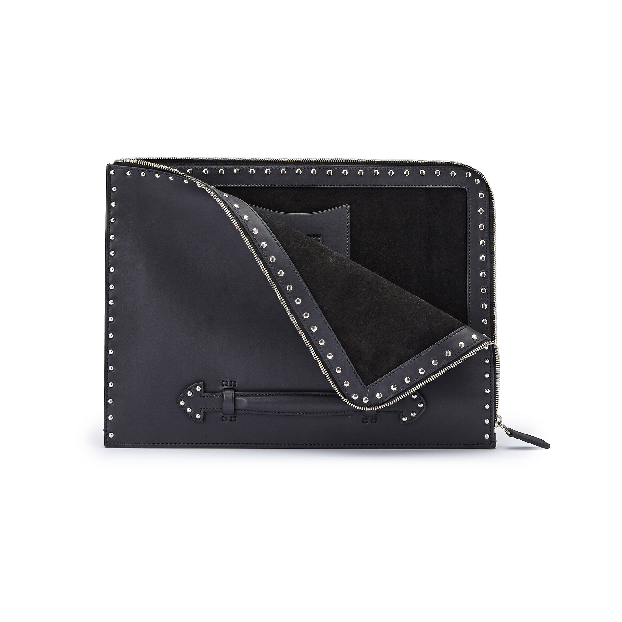 The black with studded french calf Handle Zip Folio by Bertoni 1949 02