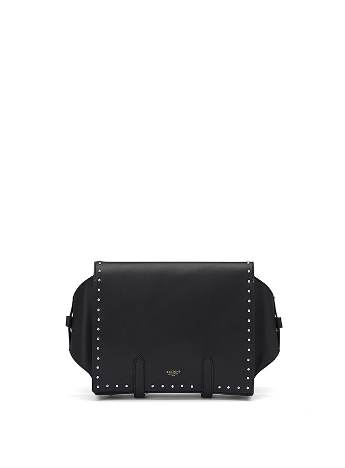 The black with studded french calf Manta Bun Bag by Bertoni 1949