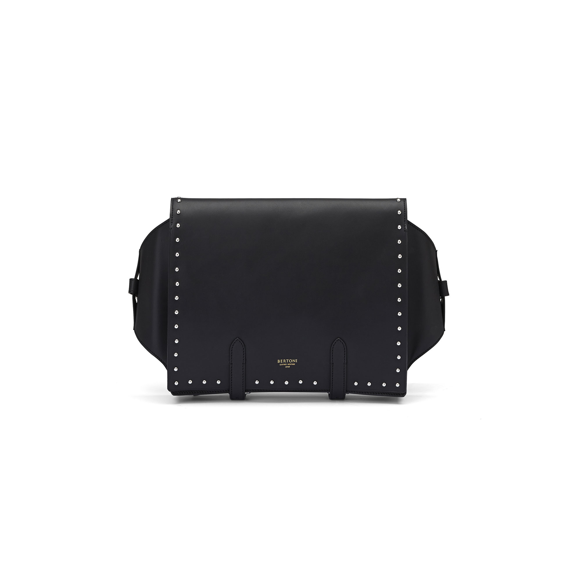 The black with studded french calf Manta Bun Bag by Bertoni 1949 01