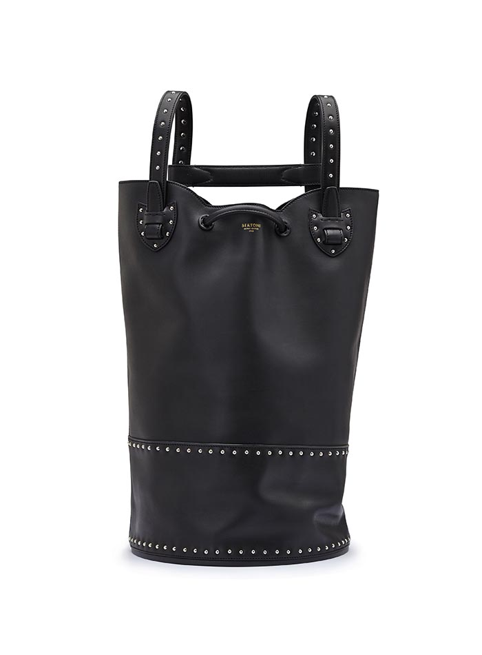 The black with studded french calf Marine Sac by Bertoni 1949