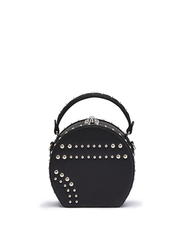 The black french calf Mini Bertoncina with studded bag by Bertoni 1949