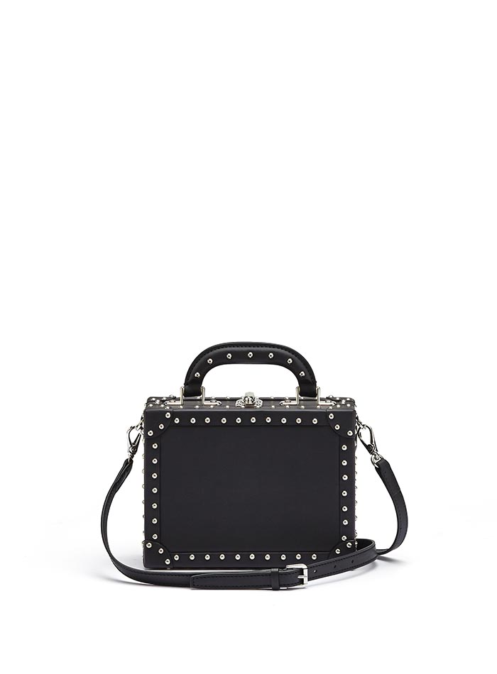 The black with studded french calf Mini Squared Bertoncina bag by Bertoni 1949