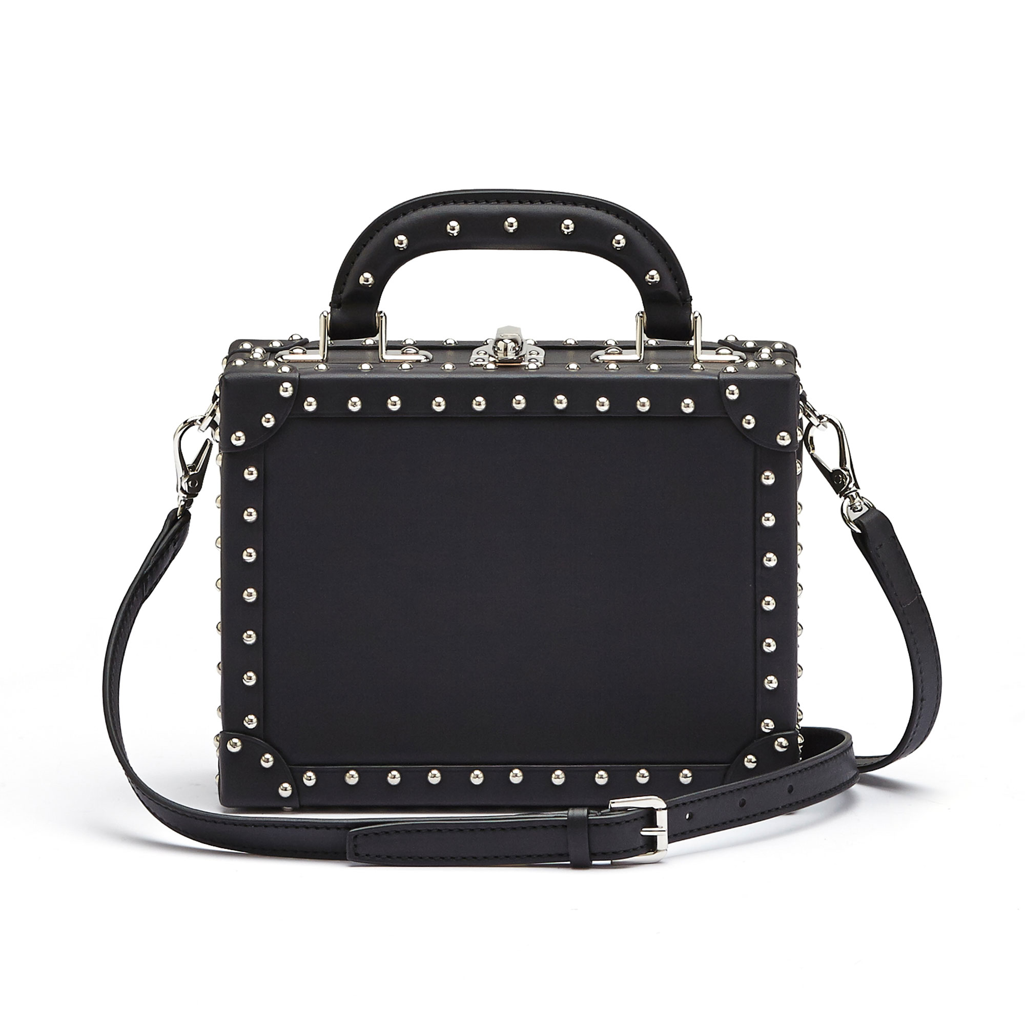The black with studded french calf Mini Squared Bertoncina bag by Bertoni 1949 03