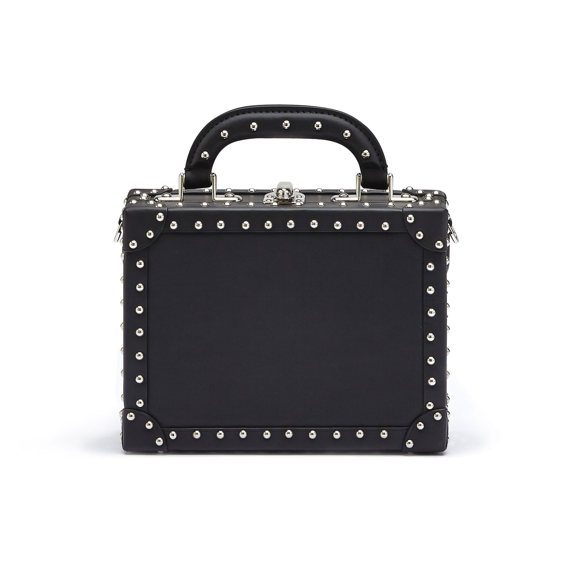 The black with studded french calf Mini Squared Bertoncina bag by Bertoni 1949 01