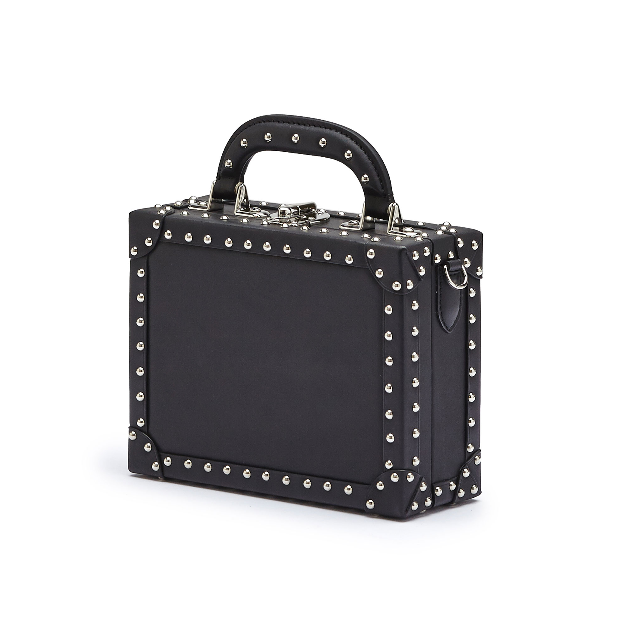 The black with studded french calf Mini Squared Bertoncina bag by Bertoni 1949 02