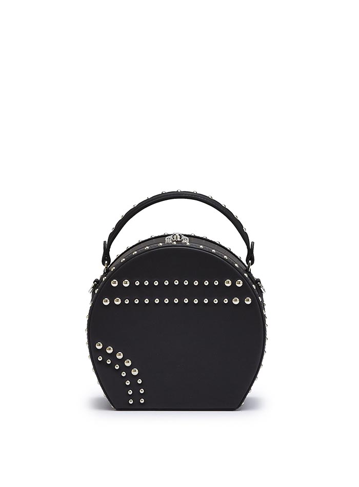 The black french calf Regular Bertoncina with studded bag by Bertoni 1949