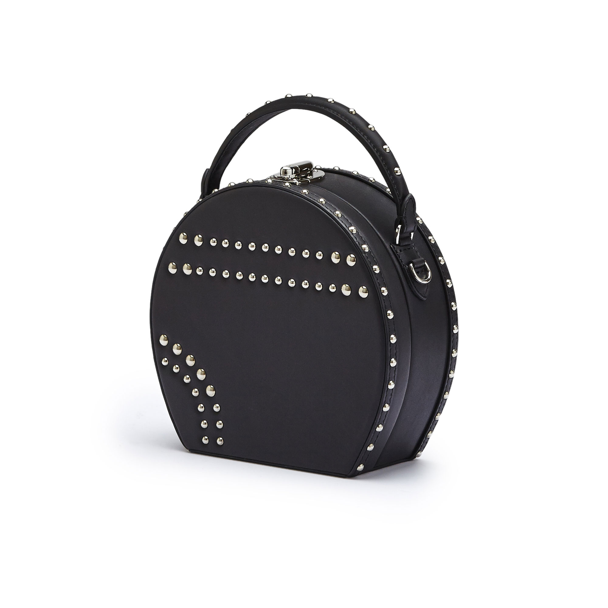 The black french calf Regular Bertoncina with studded bag by Bertoni 1949 02
