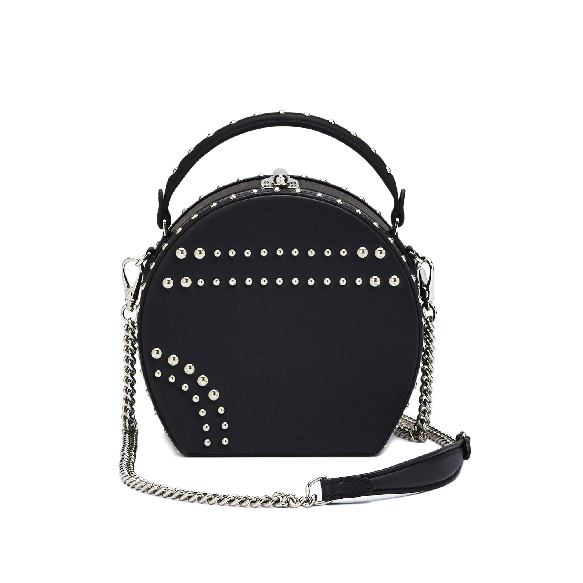 The black french calf Regular Bertoncina with studded bag by Bertoni 1949 03