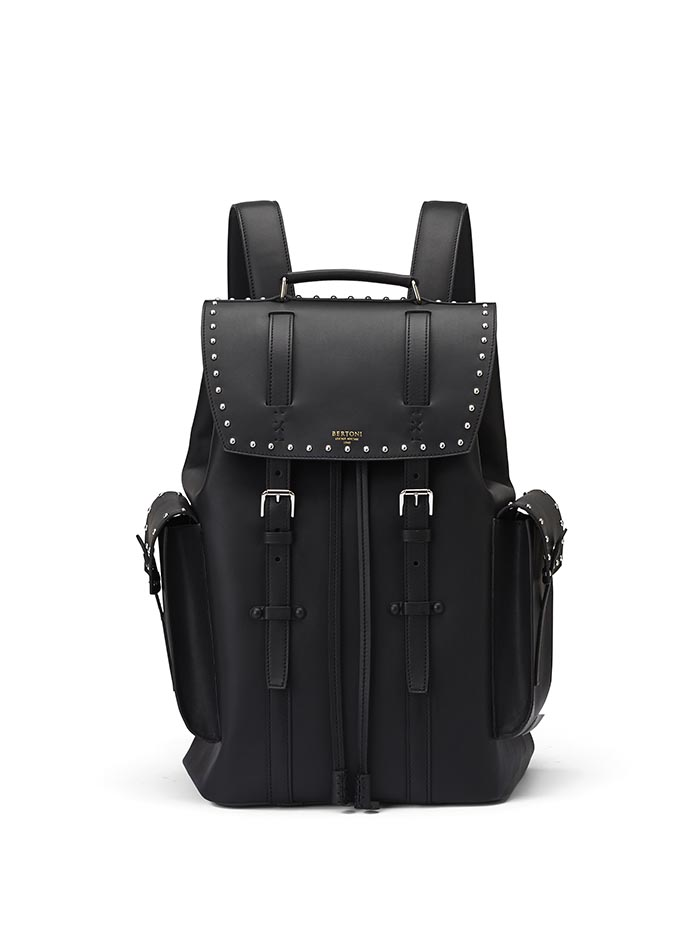 The black with studded french calf Traveller Backpack by Bertoni 1949