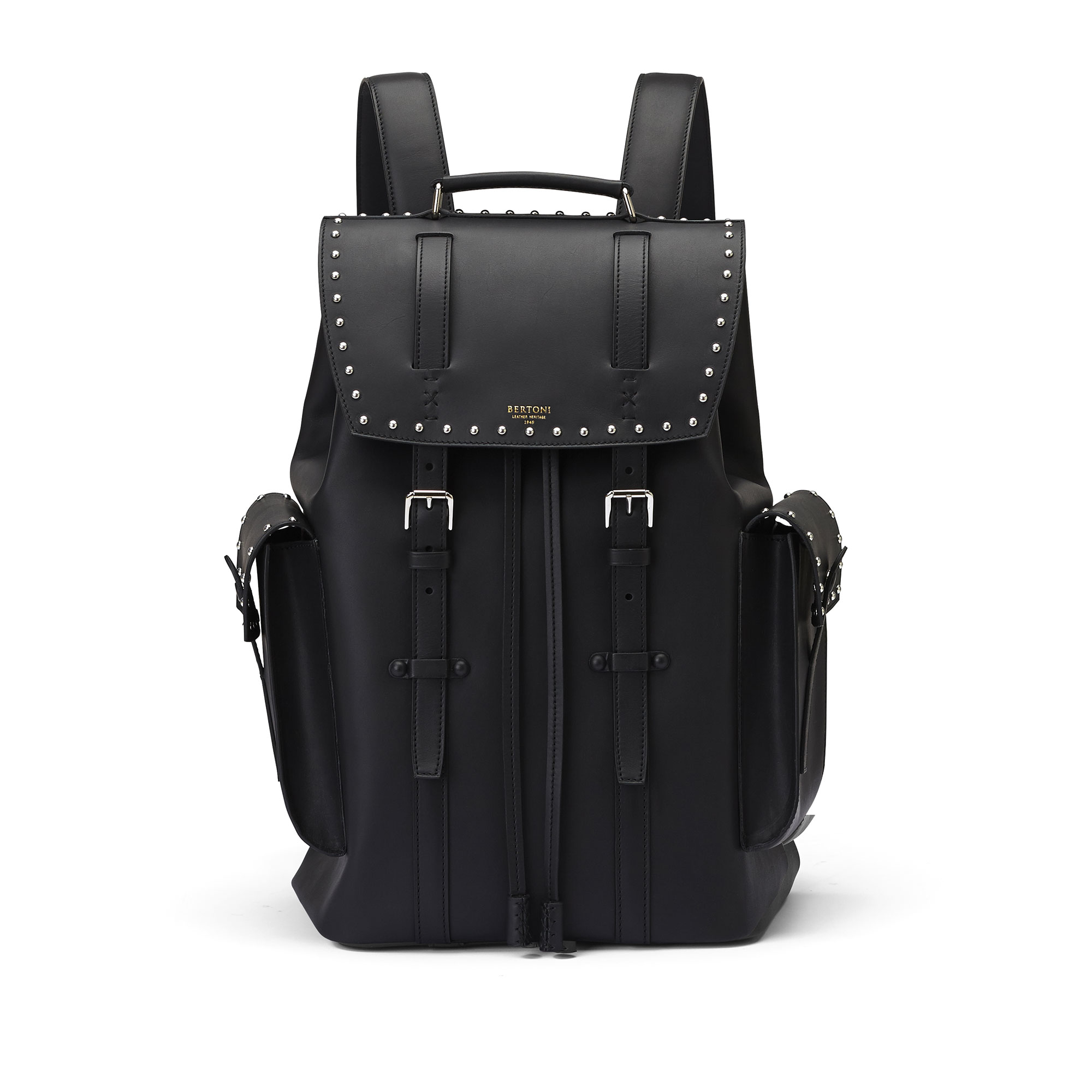 The black with studded french calf Traveller Backpack by Bertoni 1949 01