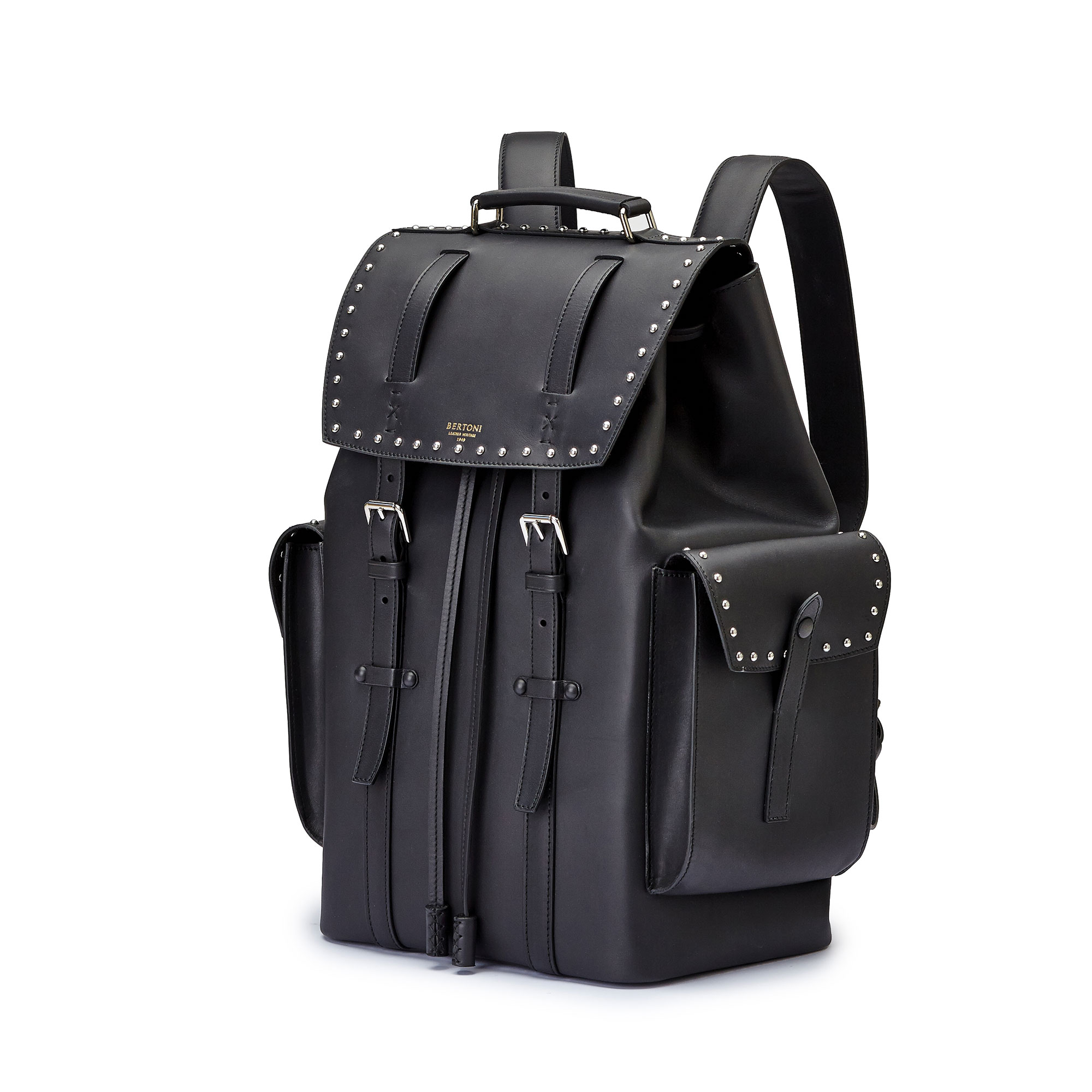 The black with studded french calf Traveller Backpack by Bertoni 1949 02