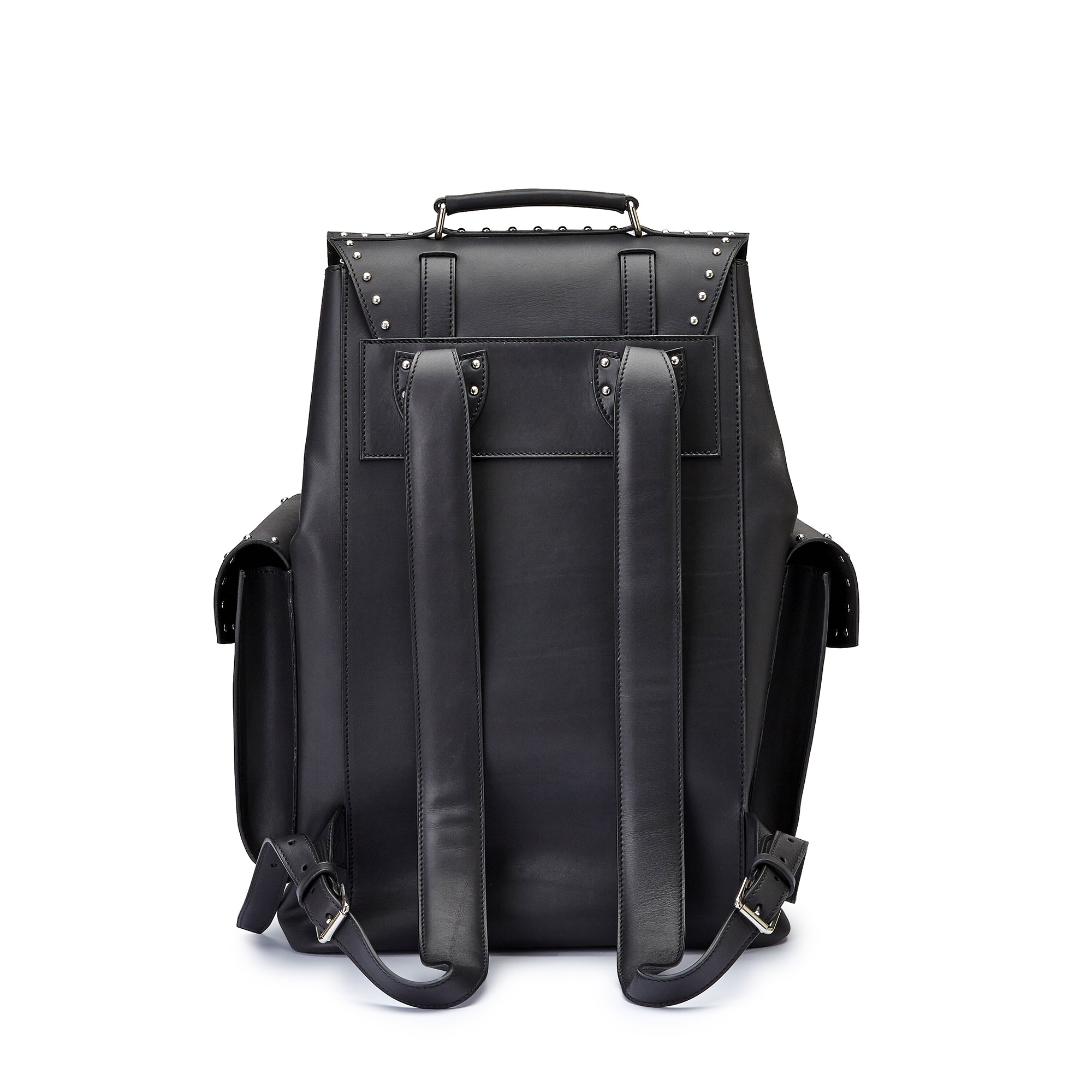 The black with studded french calf Traveller Backpack by Bertoni 1949 03