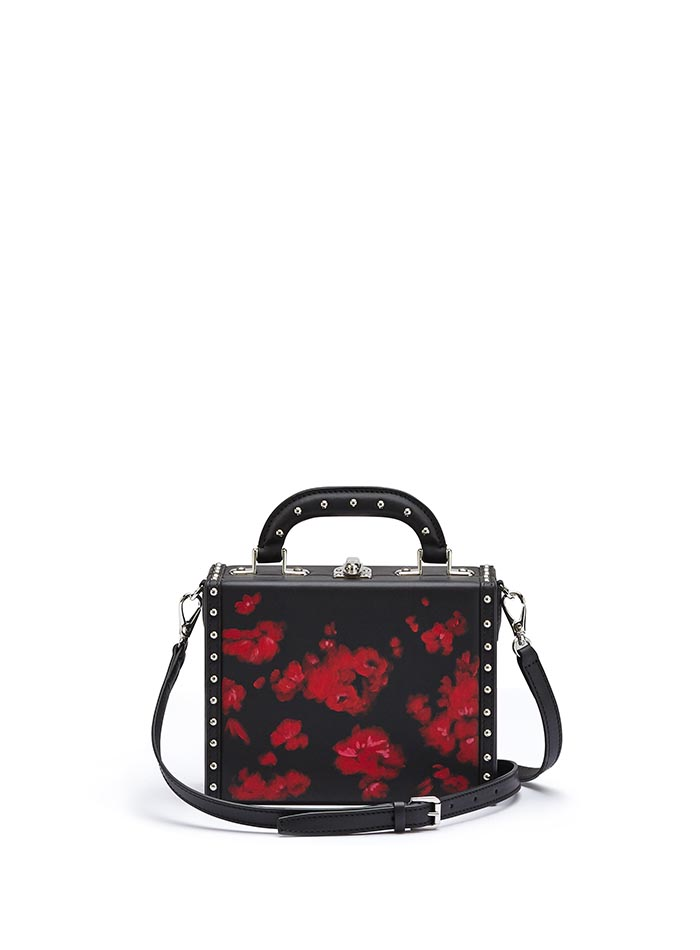 The black and red flowers with studded french calf Mini Squared Bertoncina bag by Bertoni 1949