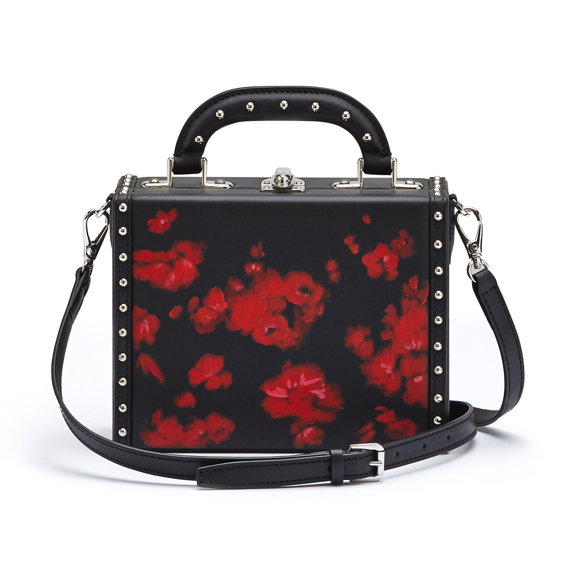 The black and red flowers with studded french calf Mini Squared Bertoncina bag by Bertoni 1949 03