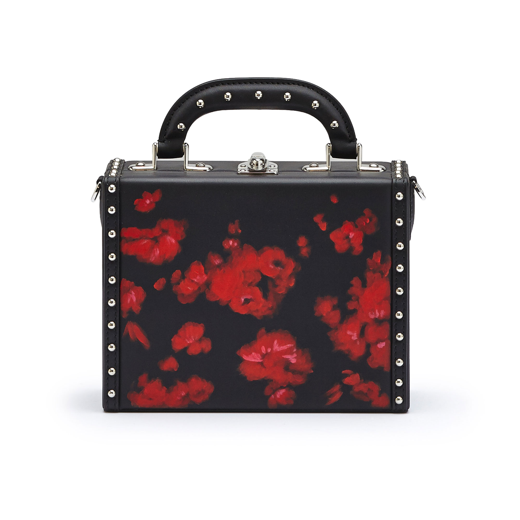 The black and red flowers with studded french calf Mini Squared Bertoncina bag by Bertoni 1949 01