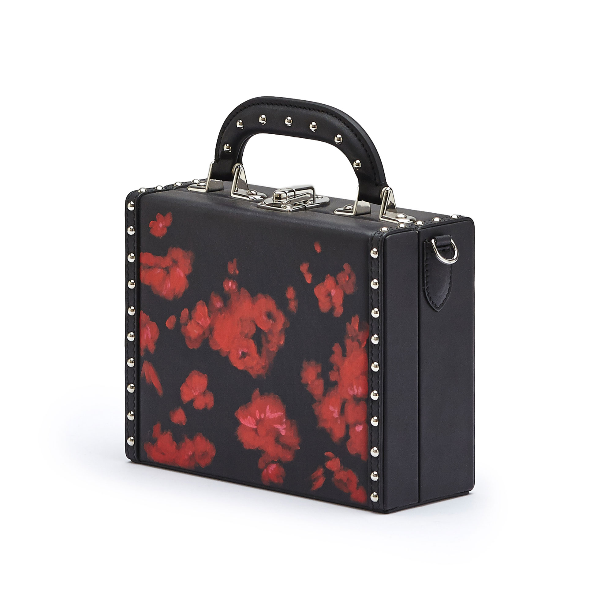The black and red flowers with studded french calf Mini Squared Bertoncina bag by Bertoni 1949 02