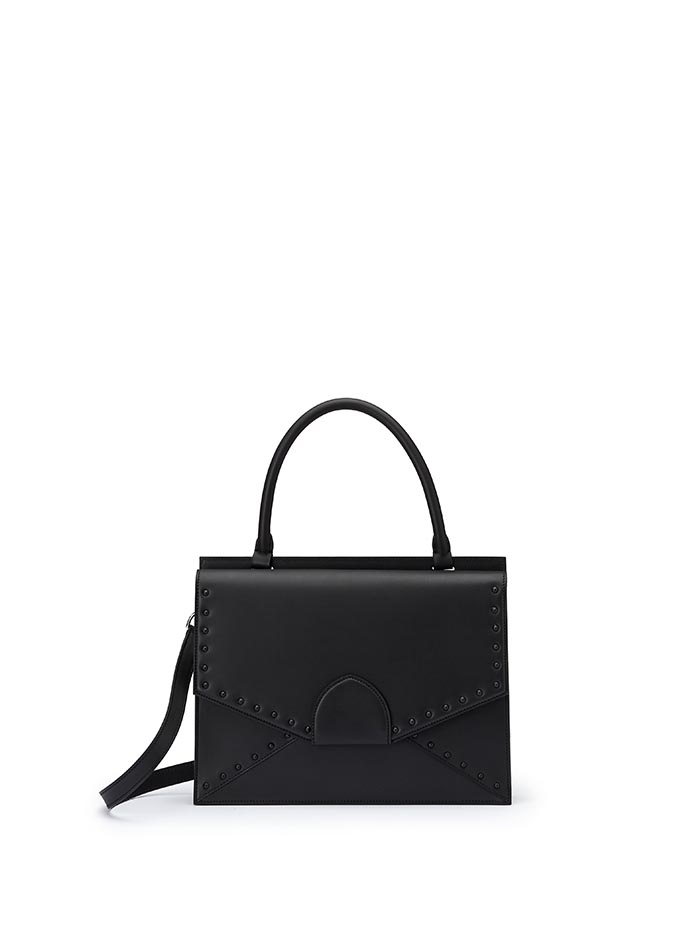 The black with studs french calf Dafne bag by Bertoni 1949