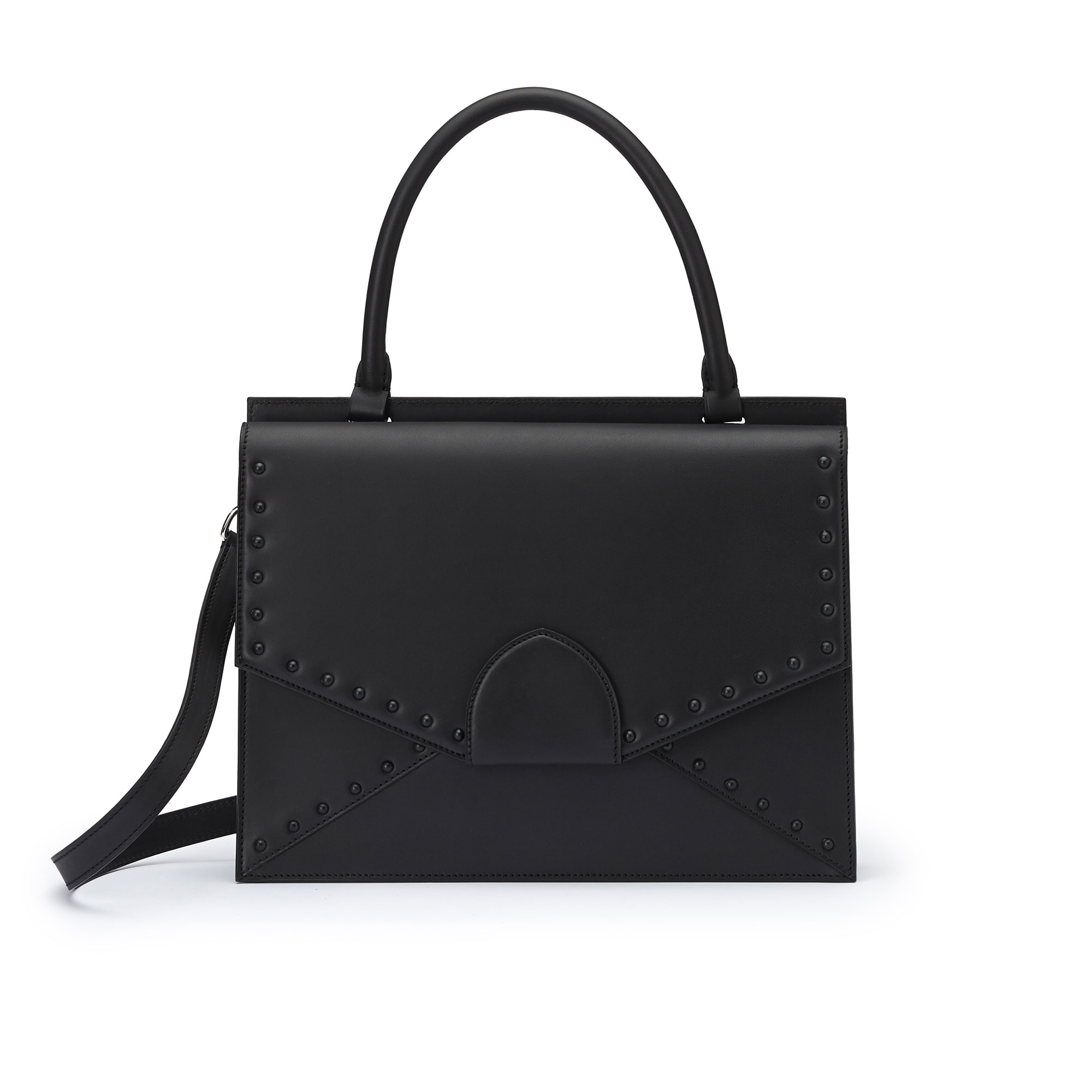 The black with studs french calf Dafne bag by Bertoni 1949 01