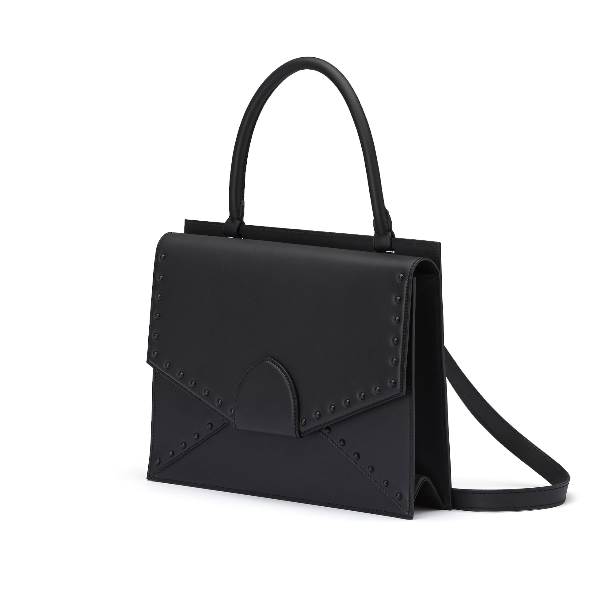 The black with studs french calf Dafne bag by Bertoni 1949 02