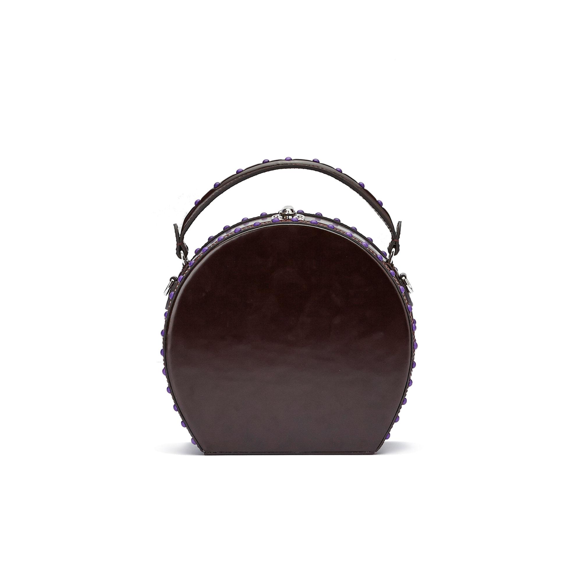 The black brushed calf Regular Bertoncina with studs purple nappa bag by Bertoni 1949 01