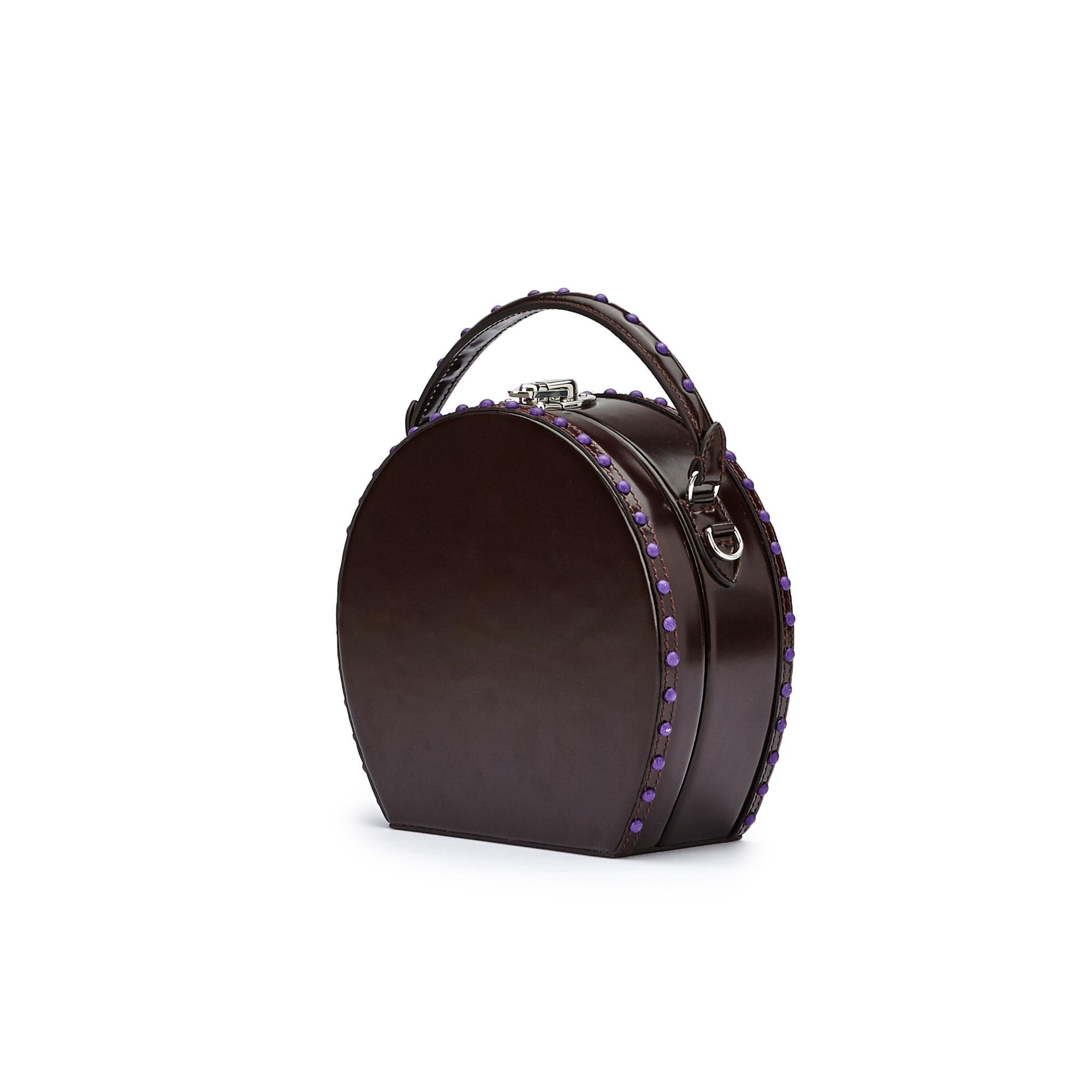 The black brushed calf Regular Bertoncina with studs purple nappa bag by Bertoni 1949 02