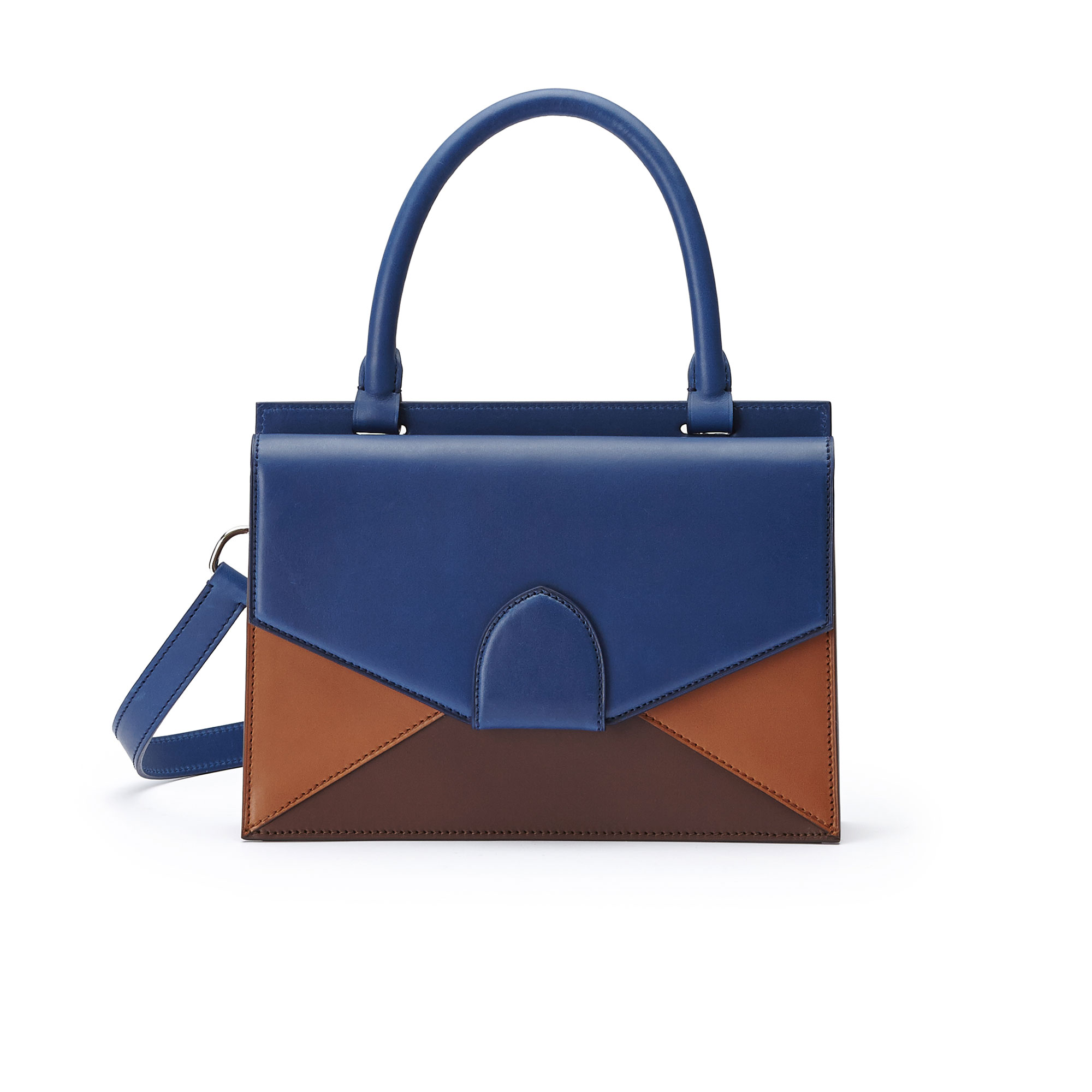 The black, blue and terrabruciata french calf Medium Dafne bag by Bertoni 1949 01