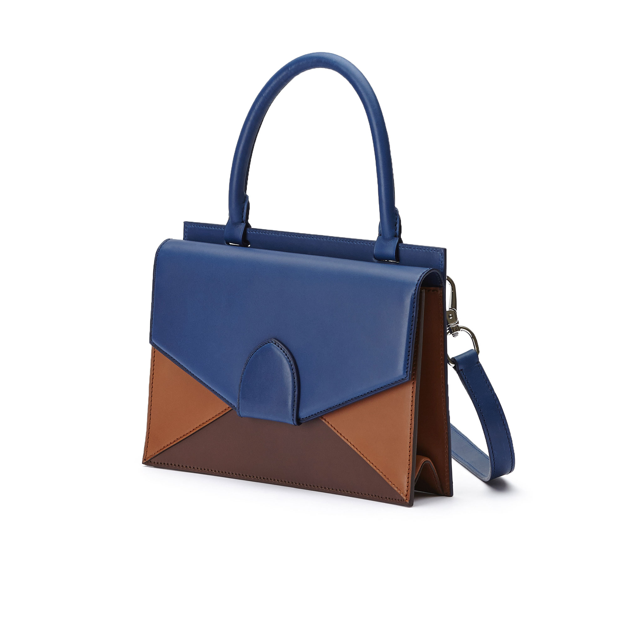 The black, blue and terrabruciata french calf Medium Dafne bag by Bertoni 1949 02
