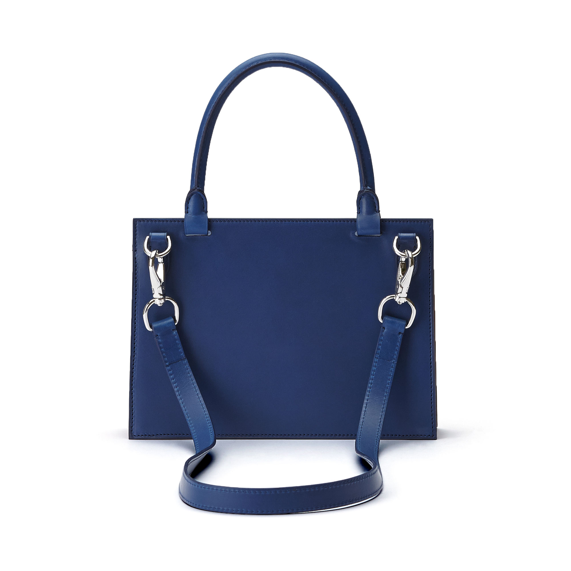 The black, blue and terrabruciata french calf Medium Dafne bag by Bertoni 1949 03