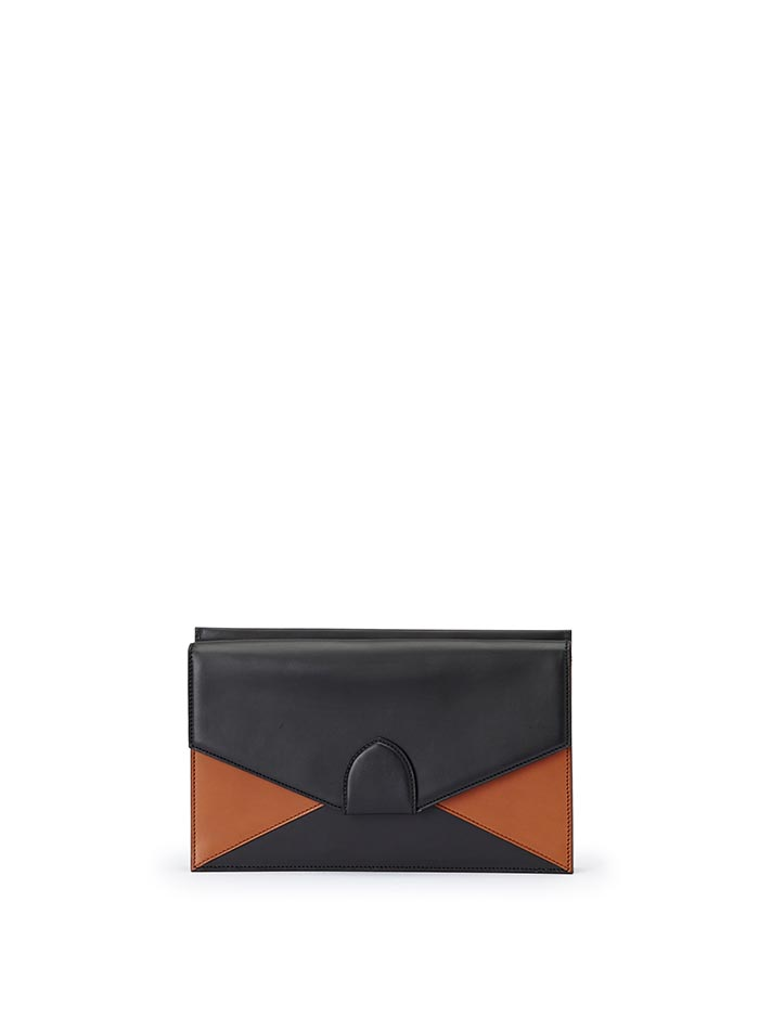 The black and terrabruciata french calf Dafne Clutch bag by Bertoni 1949