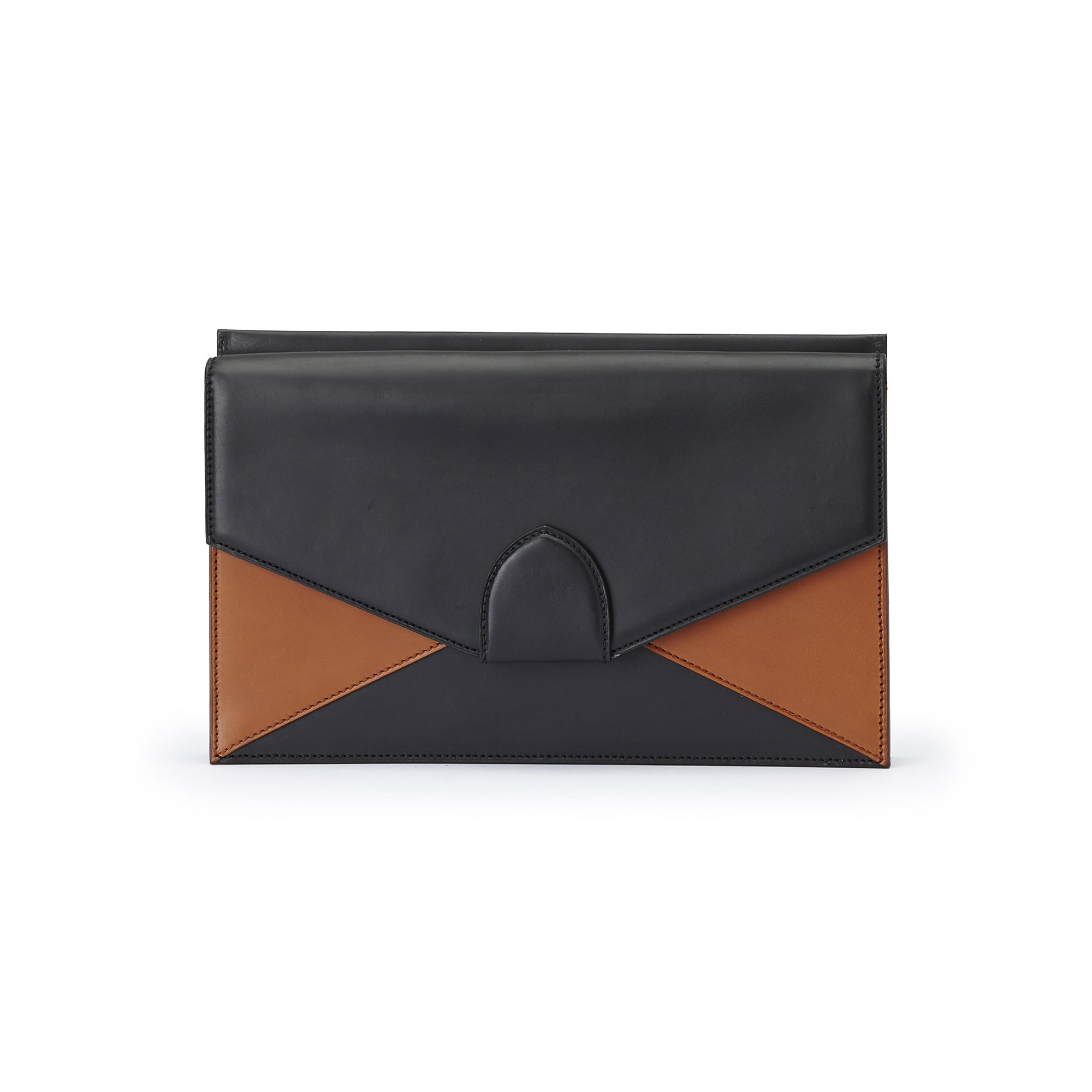 The black and terrabruciata french calf Dafne Clutch bag by Bertoni 1949 01