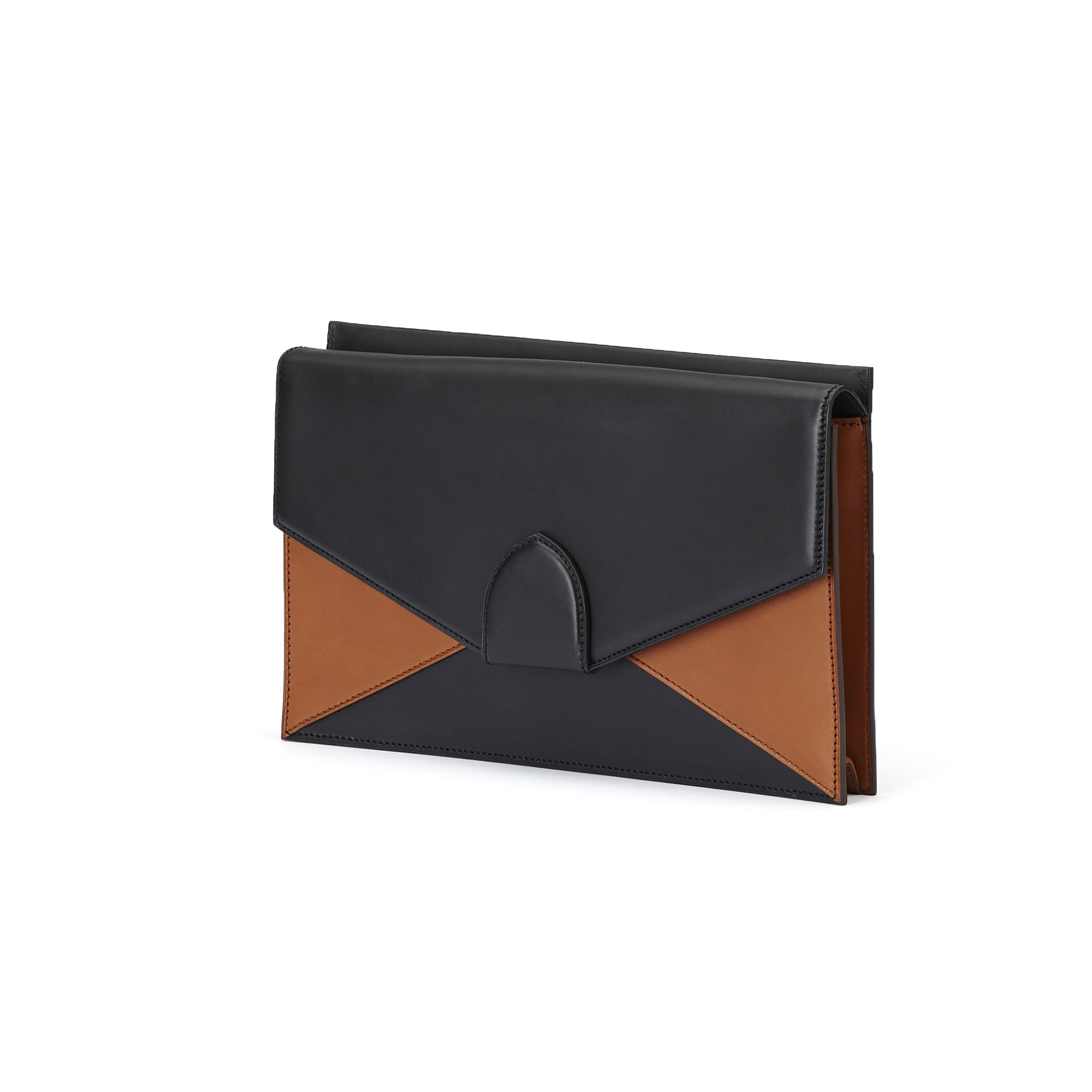 The black and terrabruciata french calf Dafne Clutch bag by Bertoni 1949 02