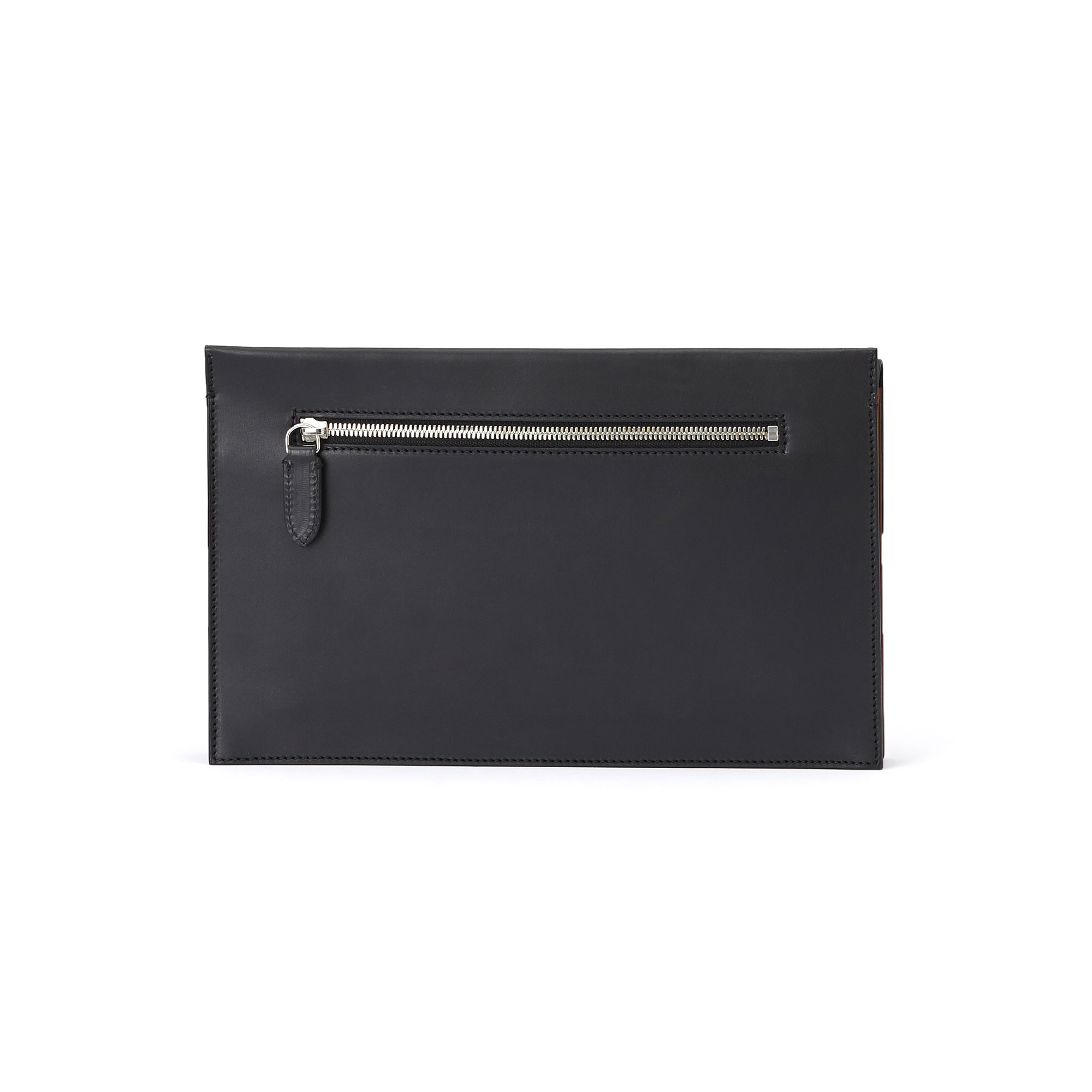 The black and terrabruciata french calf Dafne Clutch bag by Bertoni 1949 03