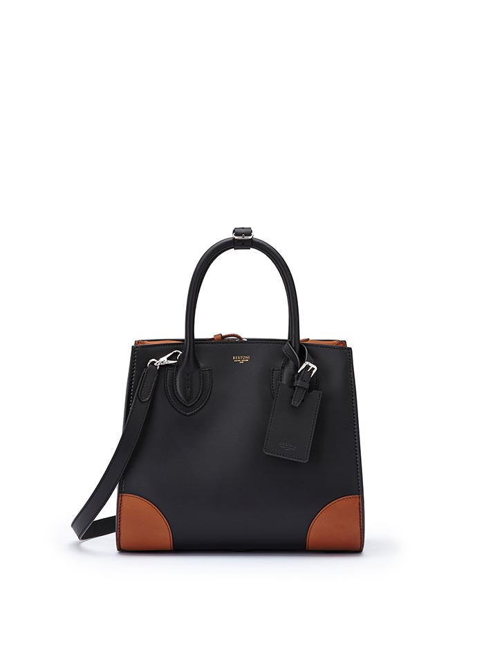 The black and terrabruciata french calf Darcy medium bag by Bertoni 1949