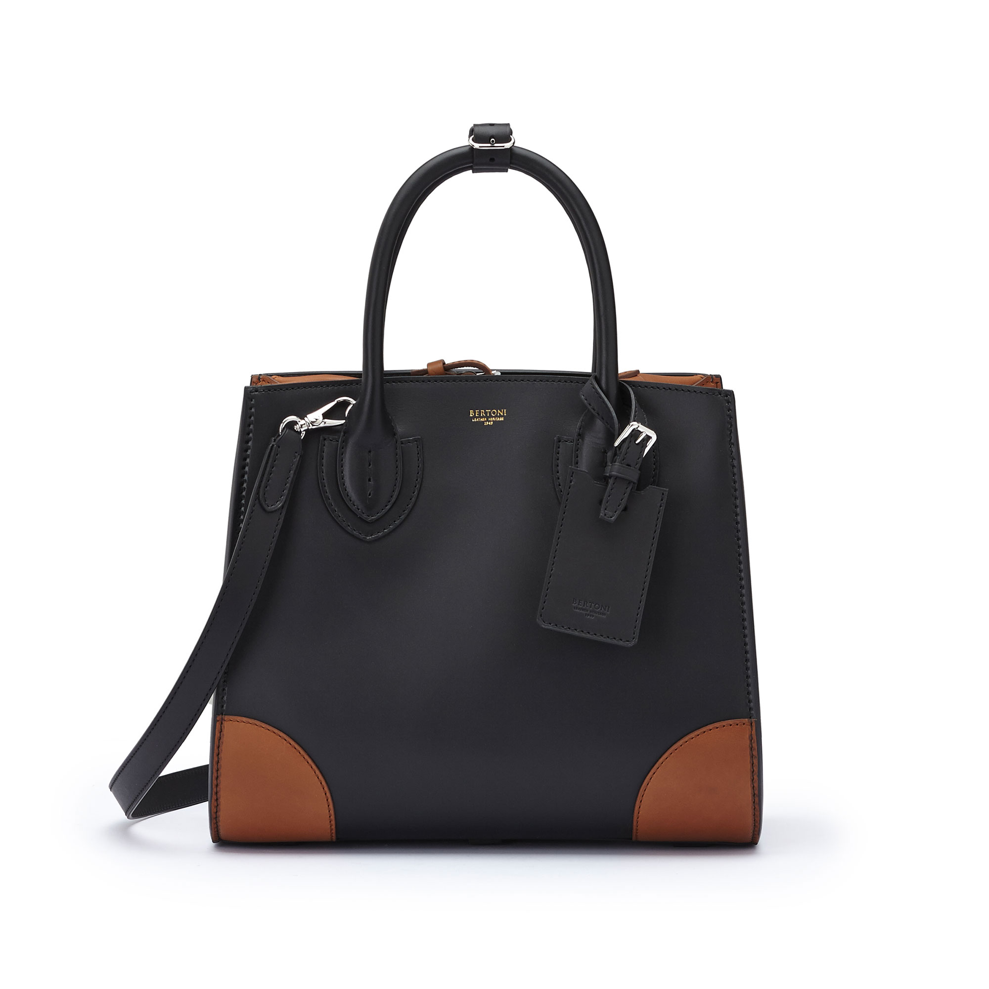 The black and terrabruciata french calf Darcy medium bag by Bertoni 1949 01