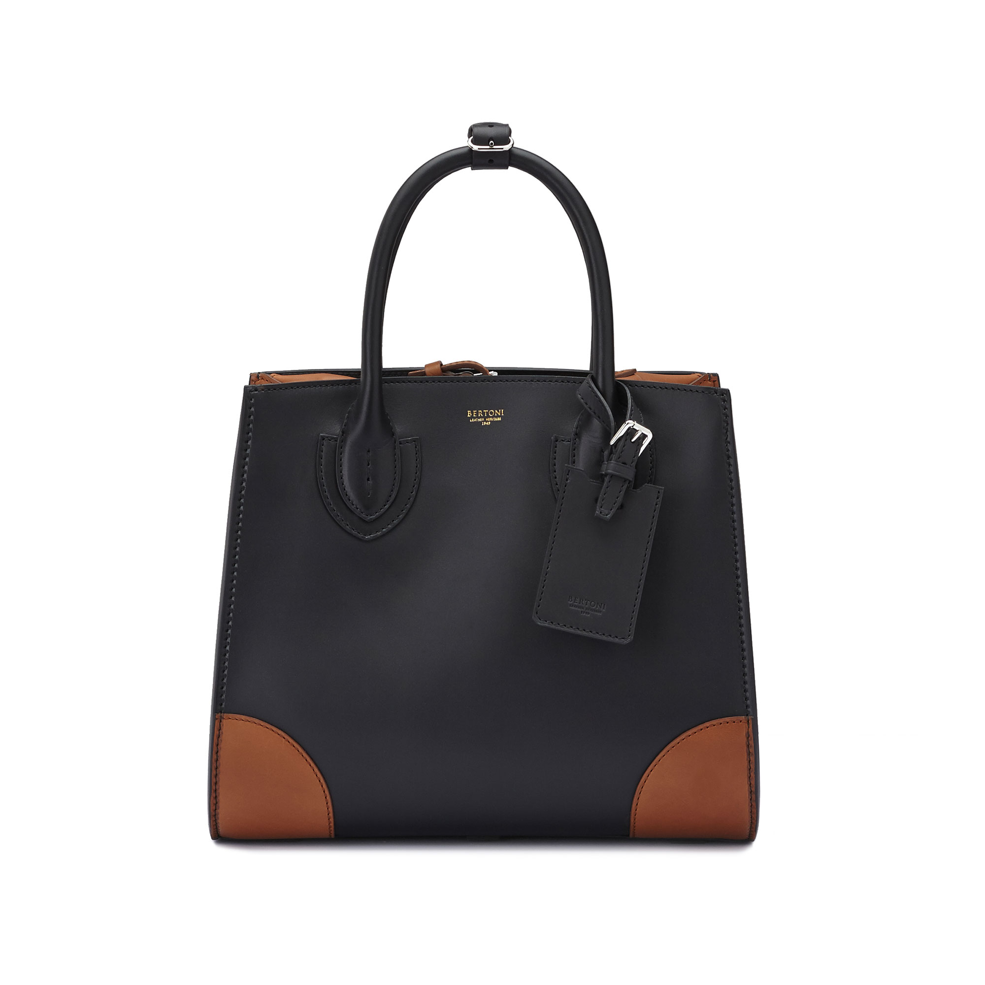 The black and terrabruciata french calf Darcy medium bag by Bertoni 1949 02