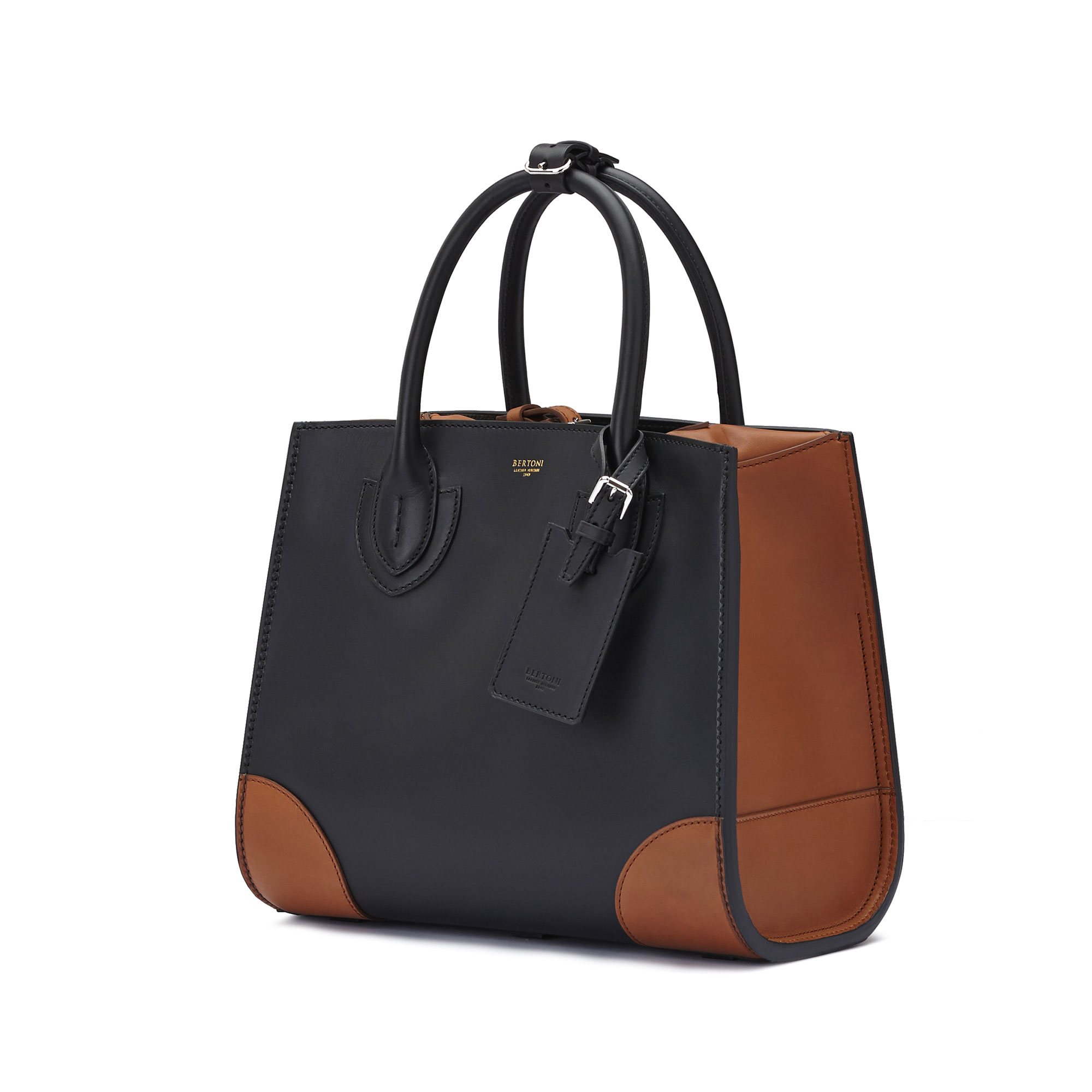 The black and terrabruciata french calf Darcy medium bag by Bertoni 1949 03