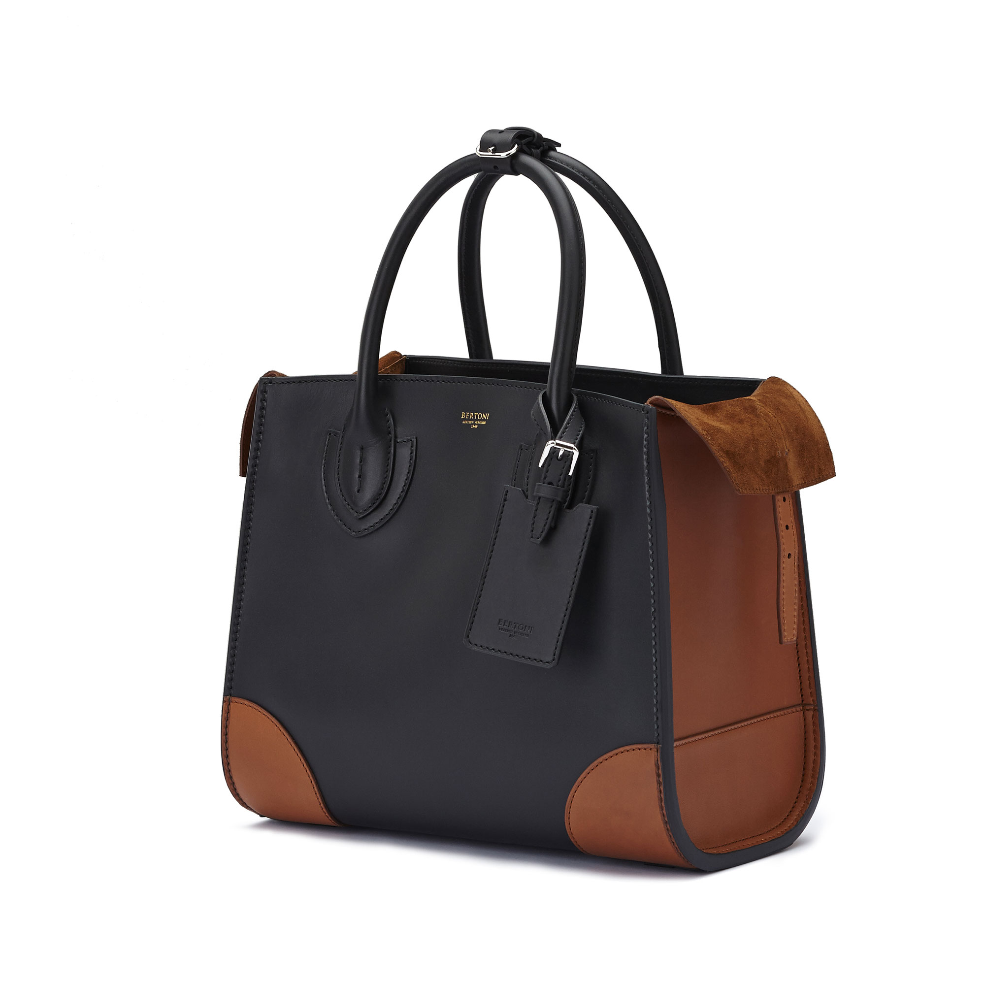 The black and terrabruciata french calf Darcy medium bag by Bertoni 1949 04