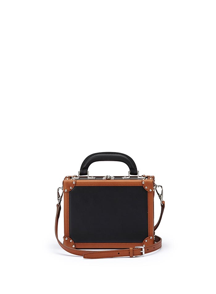 The black and terrabruciata french calf Mini Squared Bertoncina bag by Bertoni 1949