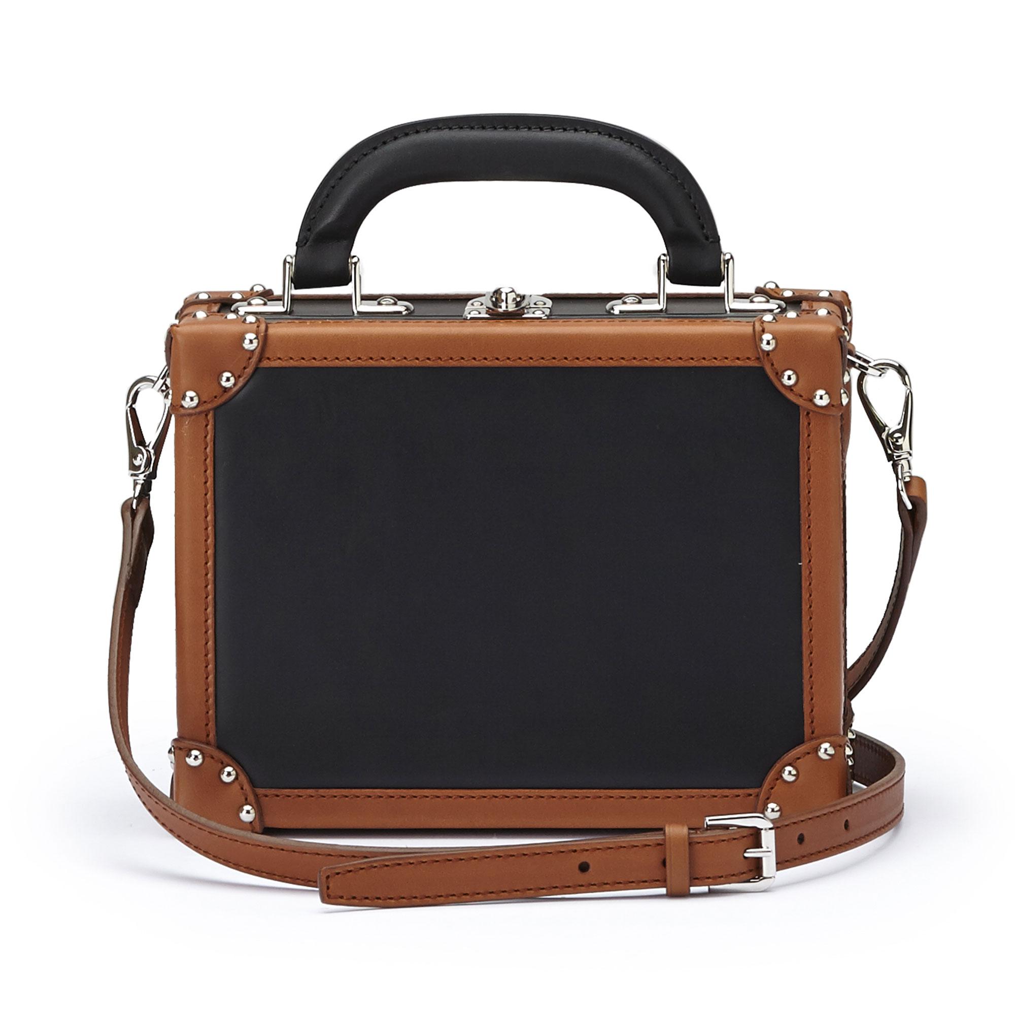 The black and terrabruciata french calf Mini Squared Bertoncina bag by Bertoni 1949 03
